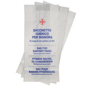 Sacchetti igienici in carta resistente che garantiscono il corretto smaltimento dei rifiuti. Venduto in confezioni da 1000 pezzi.