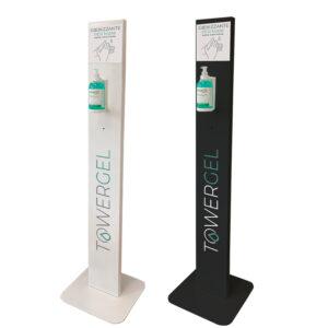 Torretta con erogatore manuale in ferro verniciato per l'erogazione di gel disinfettante. L'erogazione del gel avviene manualmente.